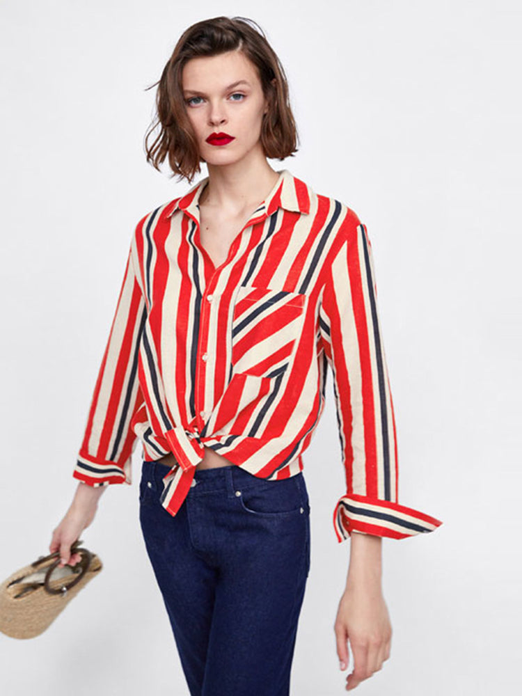 Irregular Long Sleeve Lapels Loose Slim Striped Blouse