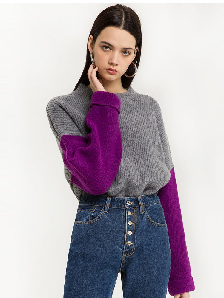 Retro Personality Contrast Color Stitching Loose Drop Shoulder Knit Sweater