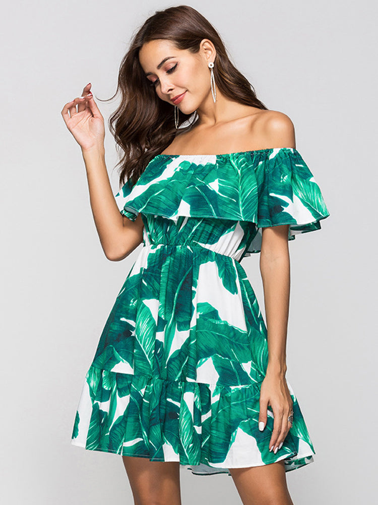 Green Leaf Print Off shoulder Collar Ruffled Dress