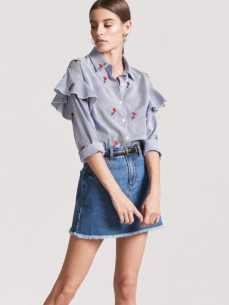 OL Embroidery Striped Ruffled Loose Blouse