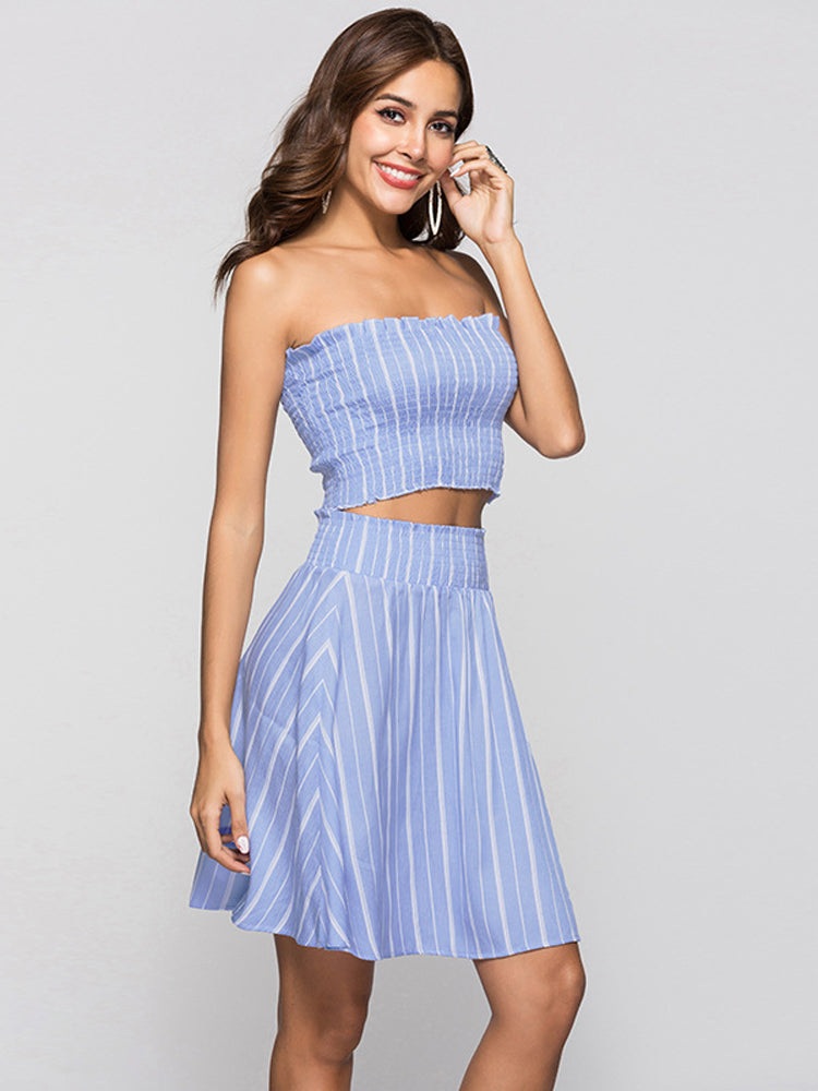 Striped Off Shoulder Top A-line Two Pieces Dress