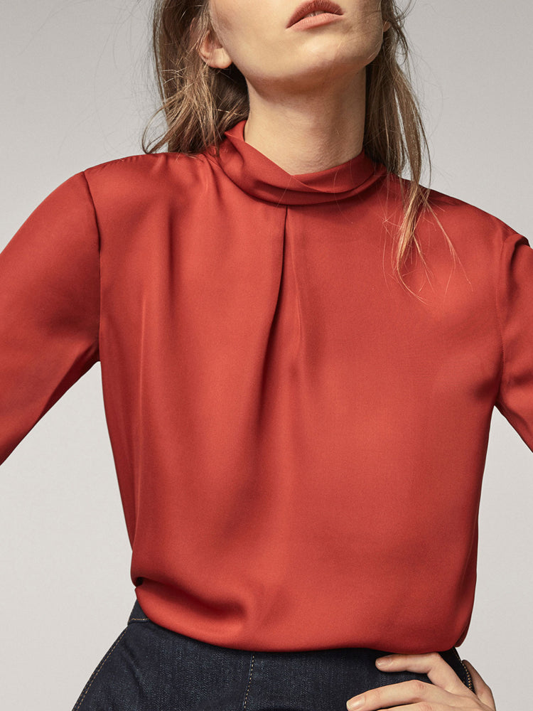 Office Knot High Collar Blouse