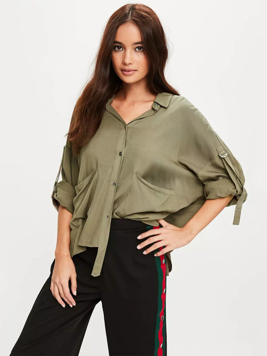 Solid Color simple Basic Casual Blouse
