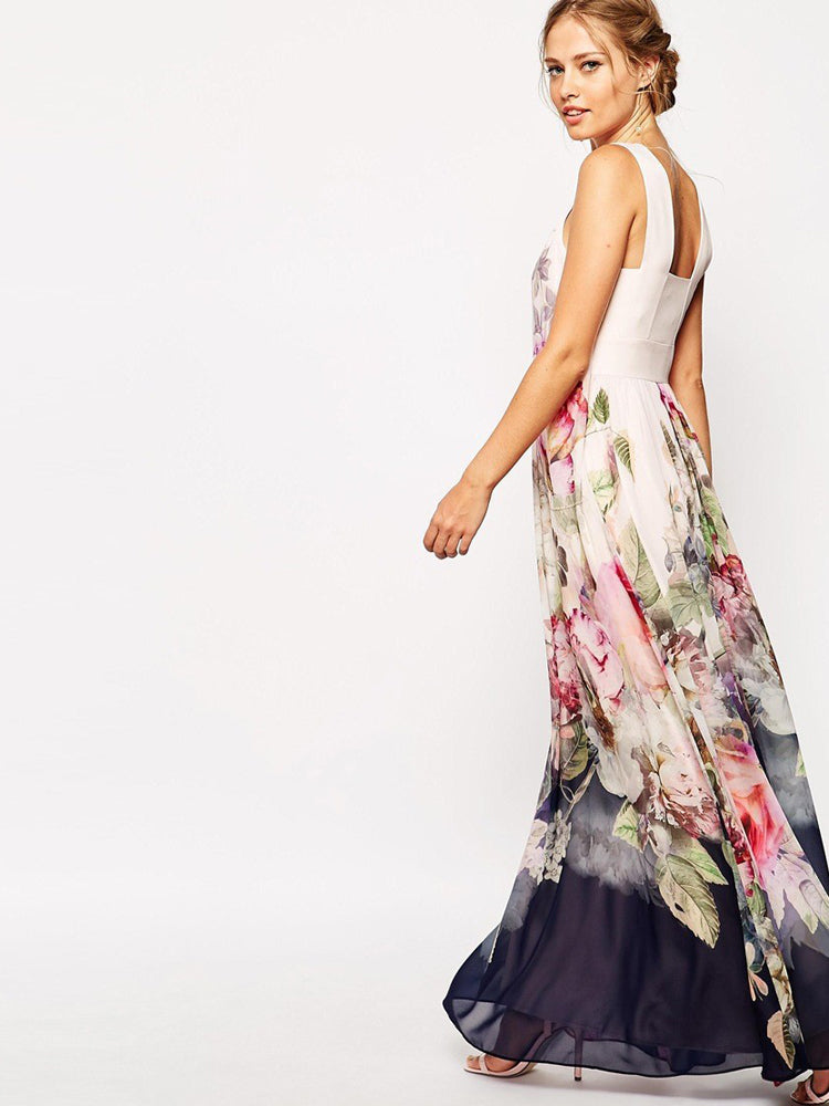 Sleeveless Long Printed Floral Dress
