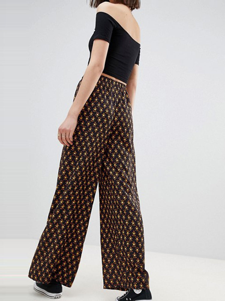 Printed Loose Slim Wide-leg Pants