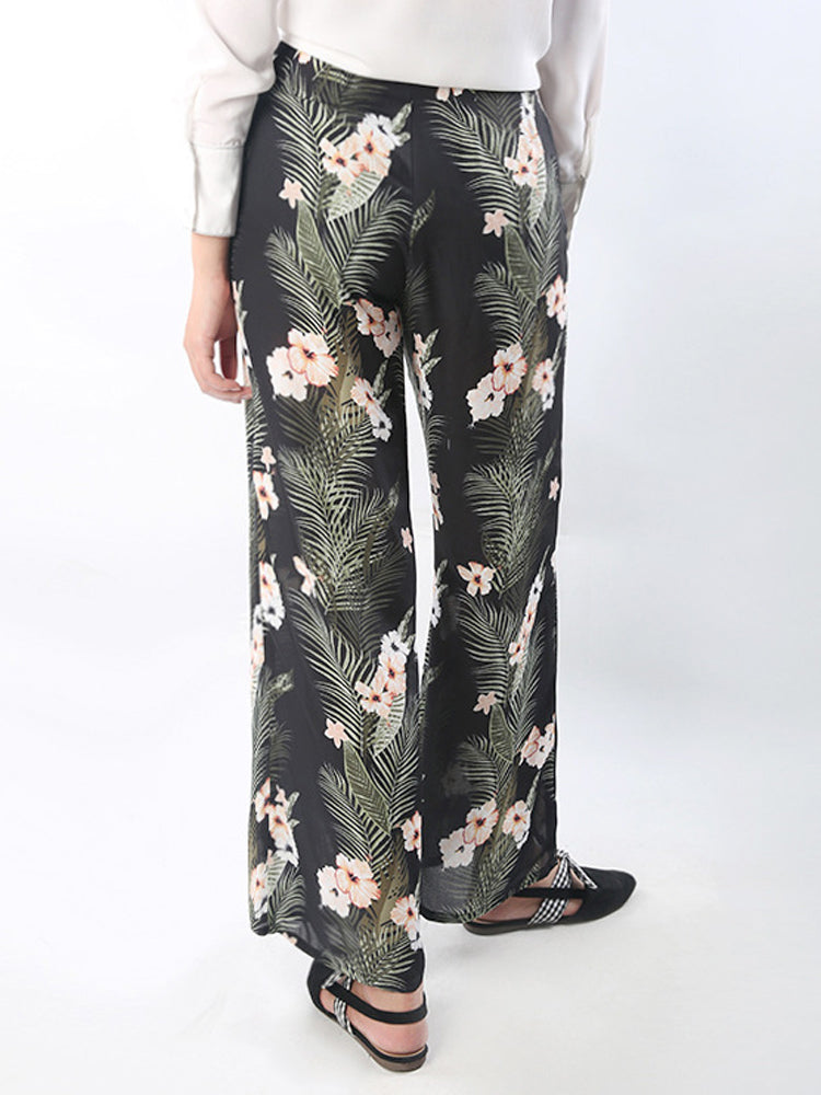 Loose Floral Trousers Chiffon Wide Leg Flower Pants