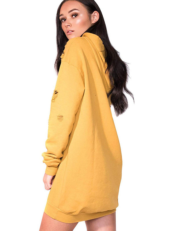 Long Sleeve Hollow Solid Color Hooded Long Pullover Sweater