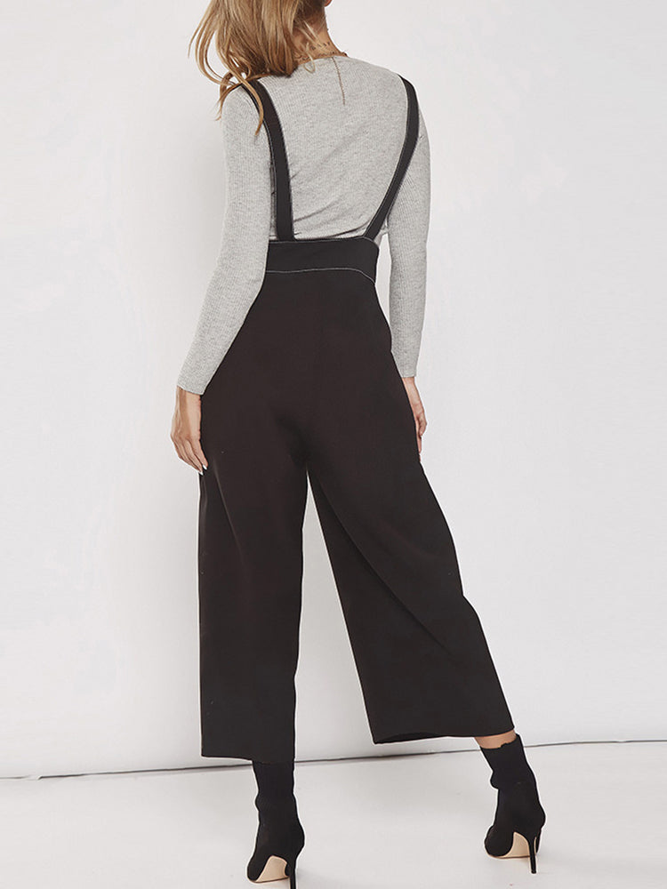 Strap Metal Ring Adjustable Wide Leg Pants