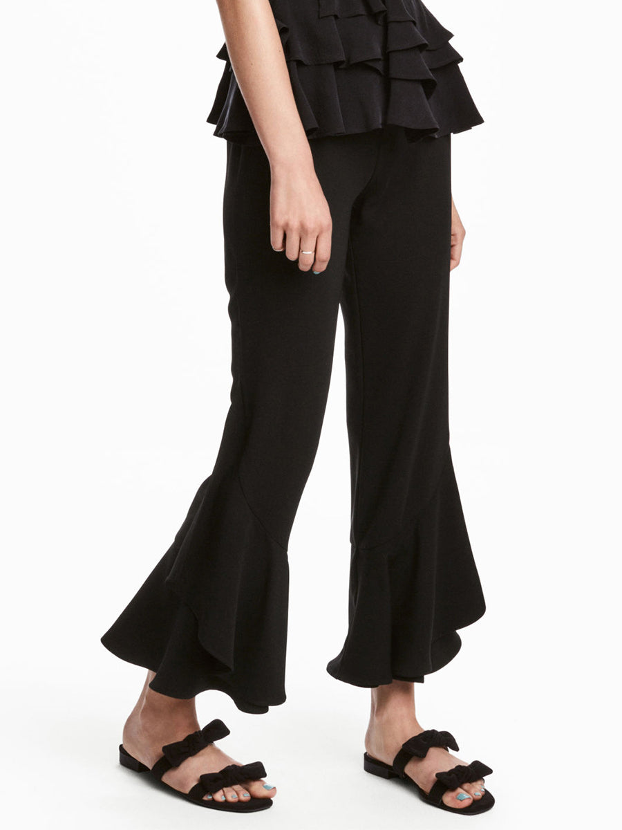OL Ruffled Solid Color Casual Pants