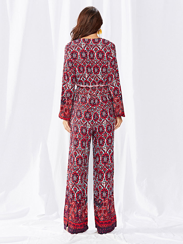 Printed Floral  V Neck Jumpsuit