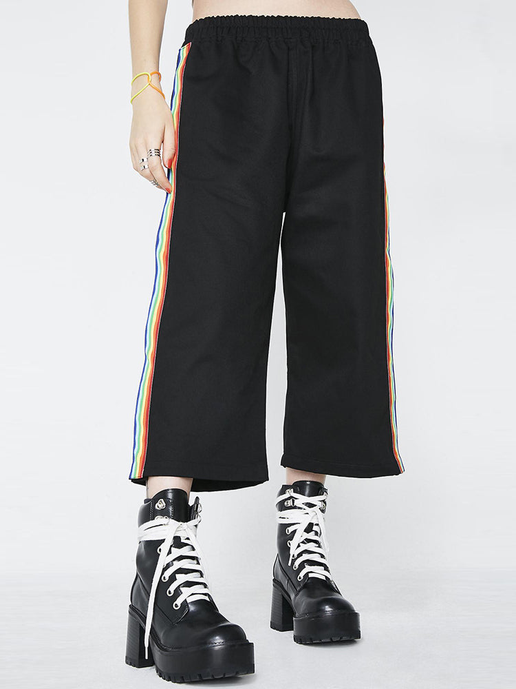 Rainbow Ribbon Splicing Split Wide Leg Pants