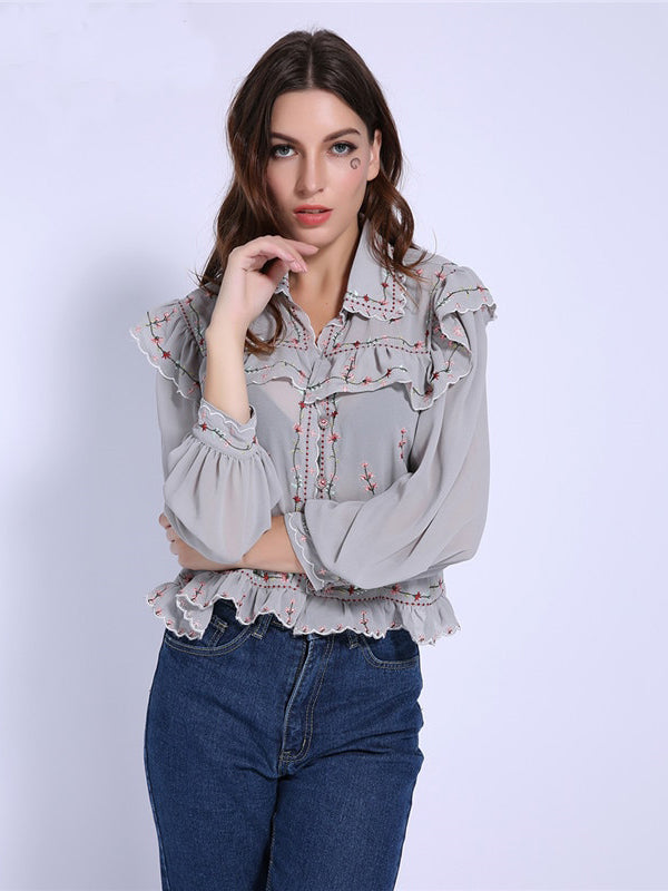 Trendy Clothes For Women Chiffon Lapel Ruffled Blouse