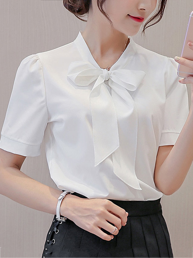 Elegant women's clothing V-neck White Fashion Blouse