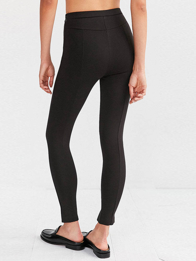 Casual Tight-fitting Body Figure Split Black Leggings - sparshine