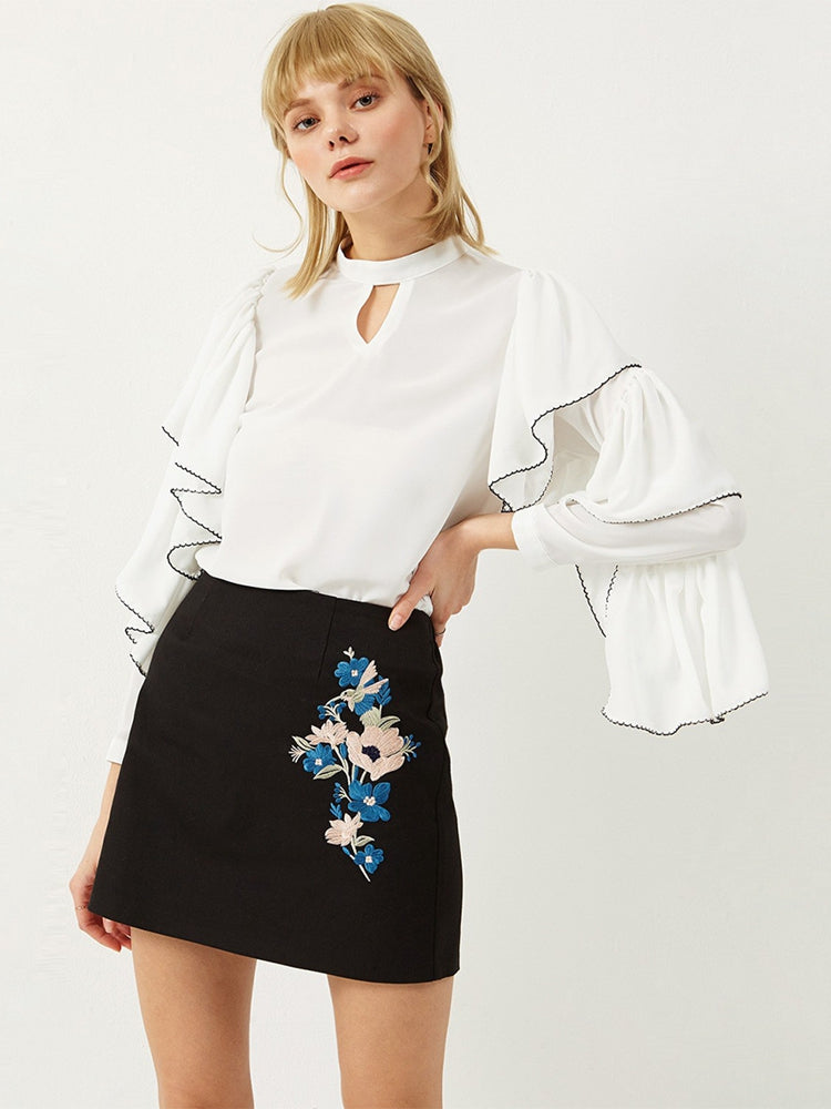 Irregular Ruffled Contrast Blouse