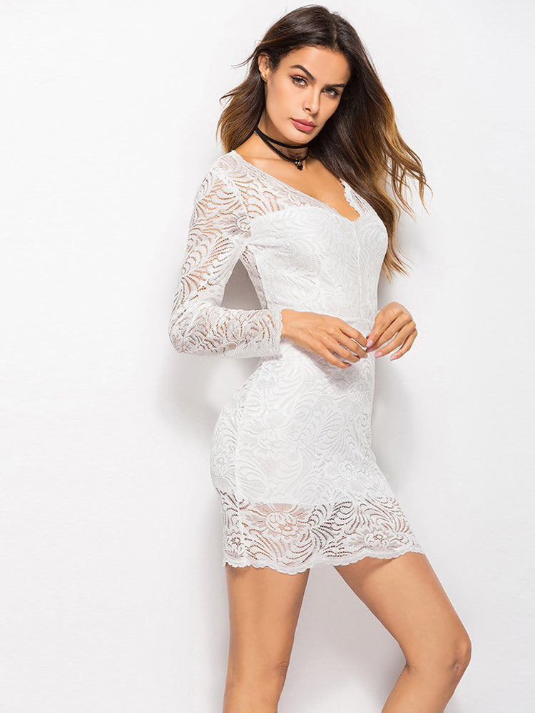Long Sleeve Hem Lace Dress