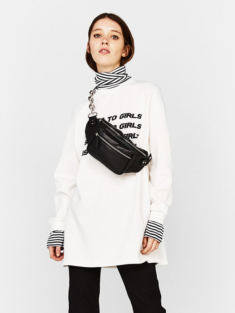 Striped Stitching English Letter Print Sweatshirt