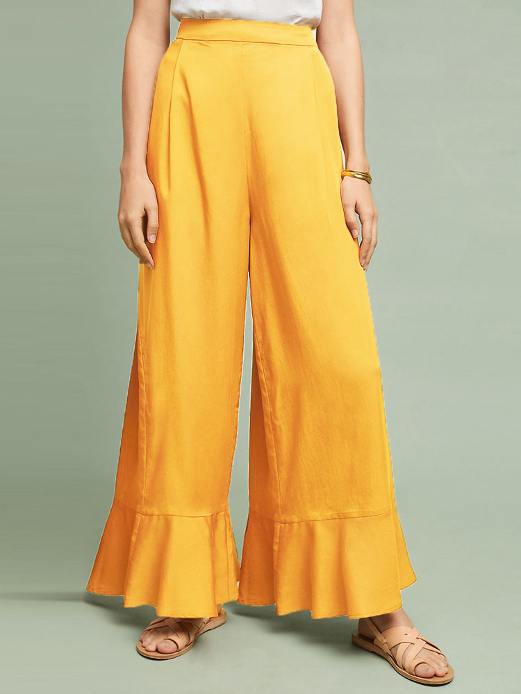 Solid Color High Waist Ruffled Hem Side Slit Wide Leg Pants