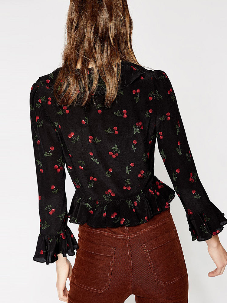 Floral Ruffled Trumpet Sleeves Decorative Shirt