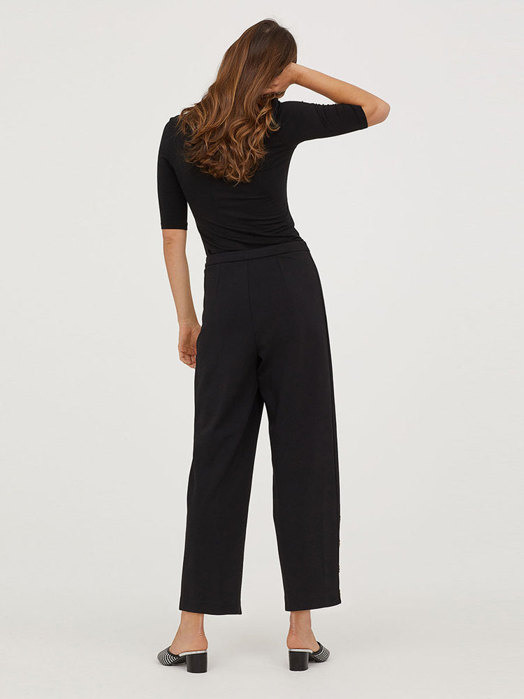High Waist Black Wide Leg Pants