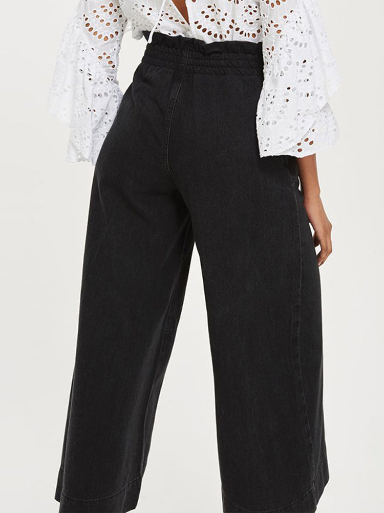 Casual Elastic Cropped Wide-leg Jeans - sparshine