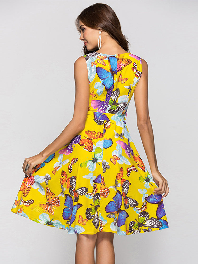Butterfly Print A-line Dress - sparshine