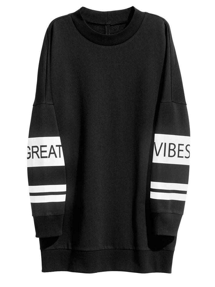 Fashion Sports Cuff Letter Print Long Loose Casual Sweater