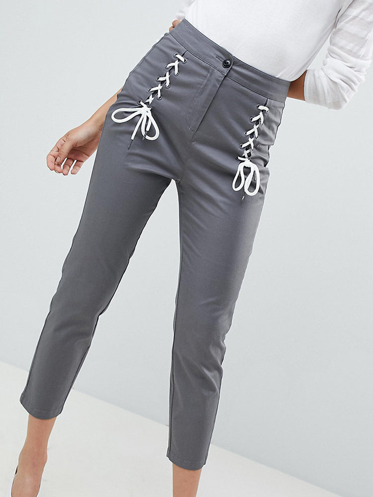 Casual Solid Color High Waist Cross Contrast Color Bandage Slim Cropped Trousers - sparshine