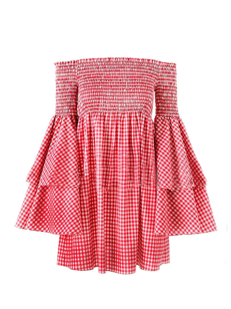 Off Shoulder Plaid Elastic Wrapped Chest Dress
