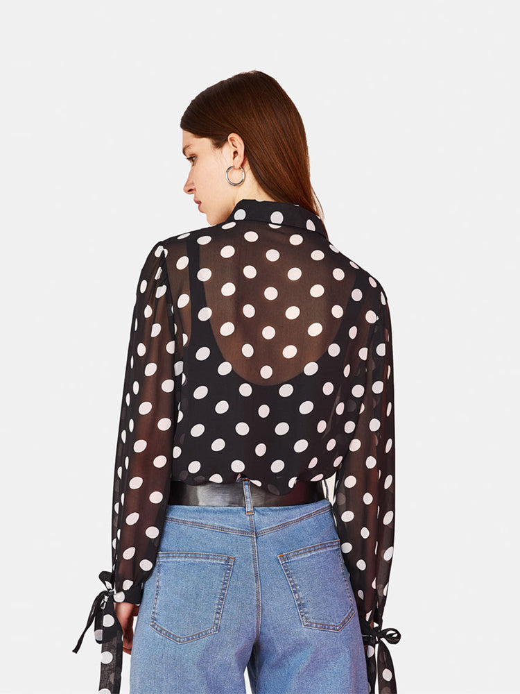 Polka Dot Knot Perspective Blouse