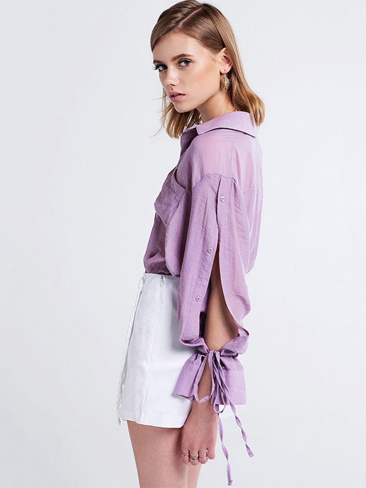 Lace Up Solid Color Long Sleeved Blouse