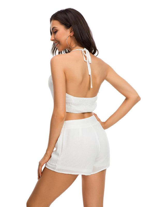Button Up Halter Self Tie Sets Shorts - sparshine