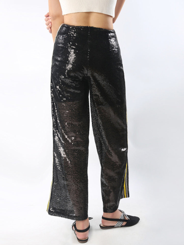 Casual Street Sequins Side Contrast Color Webbing Wide-leg Pants Trousers - sparshine