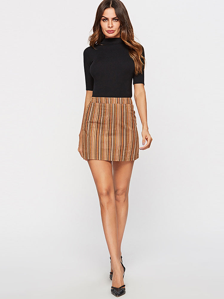 A-line Slim Fit Striped Mini Skirt - sparshine
