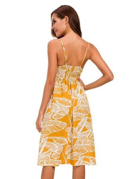 Sling Button Up Geo Print Backless Dress