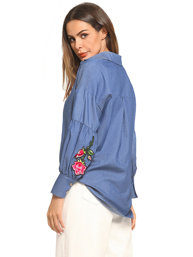 Denim Embroidered Casual Blusas Jeans Shirt - sparshine