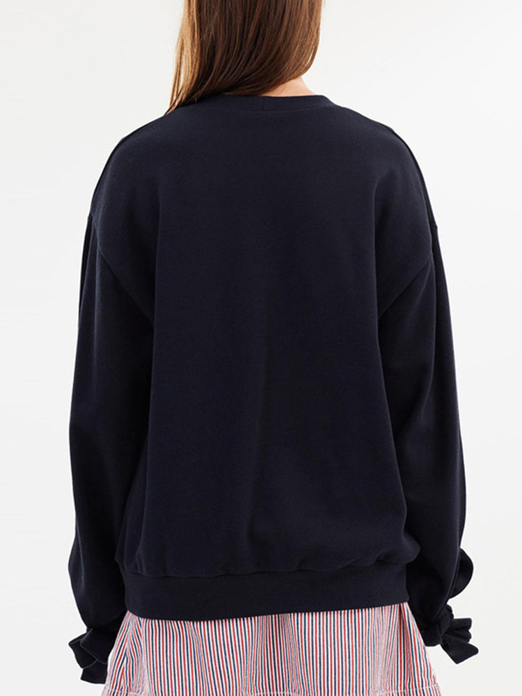 Loose Drop Shoulder Cuffs with Fifth Letter Embroidered Sweatshirt