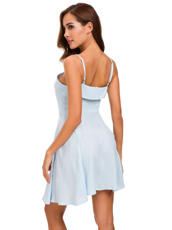 Button White Suspender Dress - sparshine
