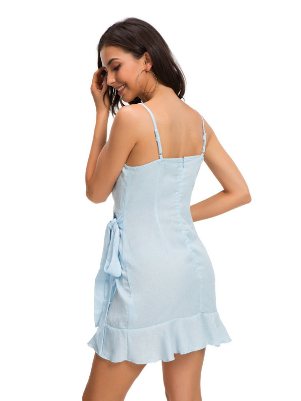 Blue Strap Backless Knee-length Dress - sparshine