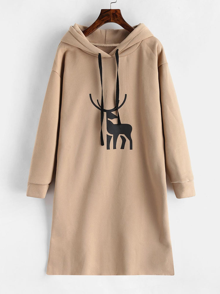 Fashion women's elk graphic fleece long hoodie