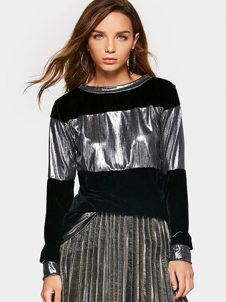 Fashion women' metallic velvet Sweatshirt
