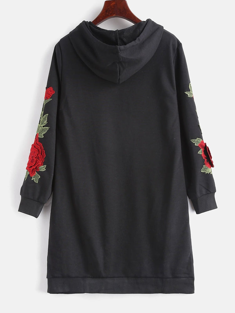 Fashion women's floral applique long hoodie