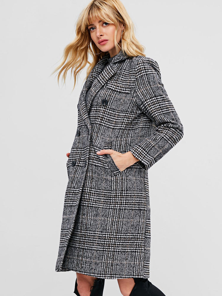 Fashion women' Double Breasted Houndstooth Tweed Trench Coat