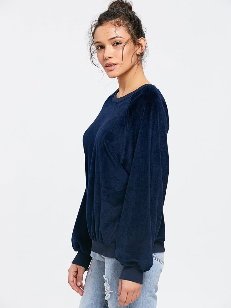 Fashion women' casual velvet sweatshirt