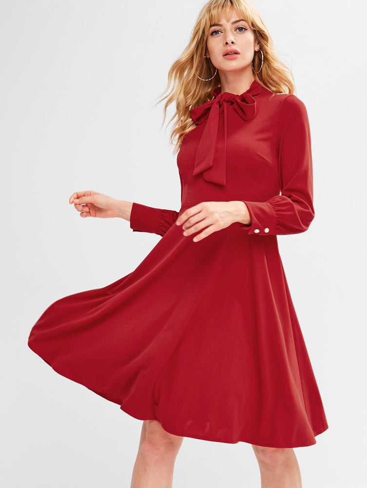 Trendy Bow Tie Long Sleeve Dress