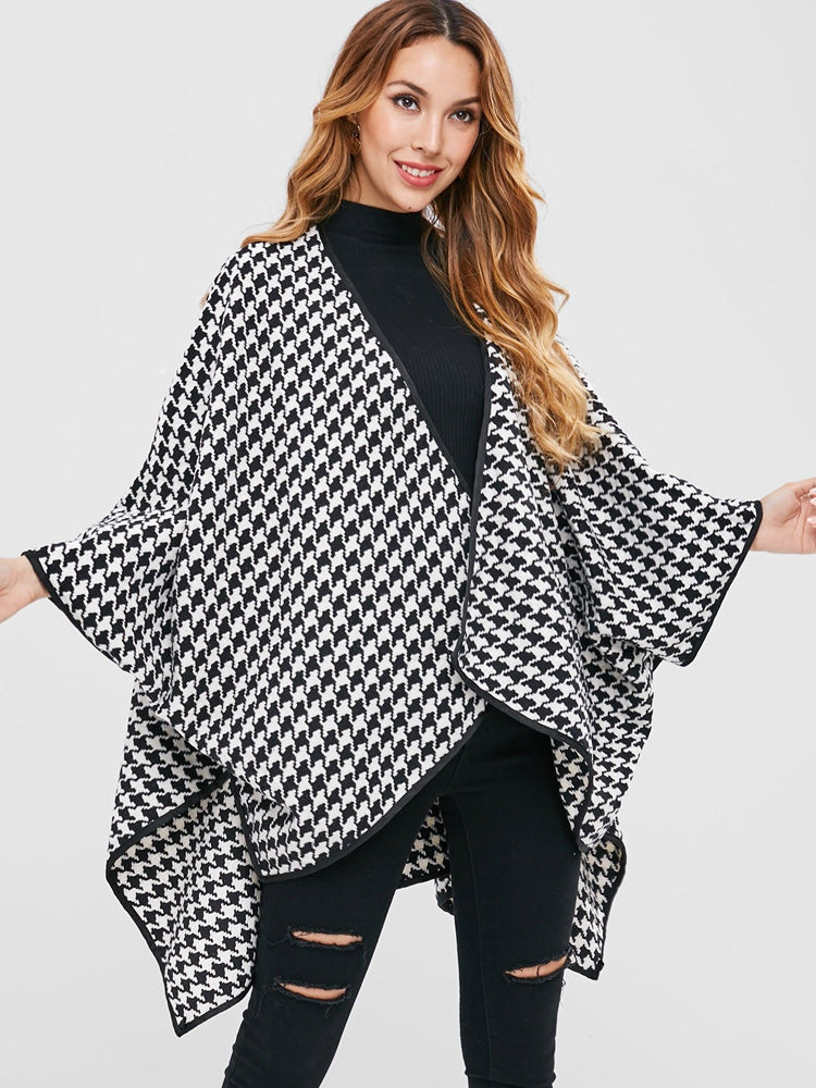 Fashion women's houndstooth batwing oversized cloak coat