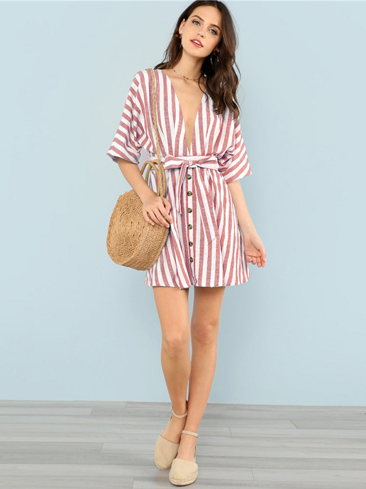 Deep V Neck Front Striped Mini Dresses Female Clothes - sparshine