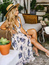 Ink Print V-neck Sleeveless Maxi Dress