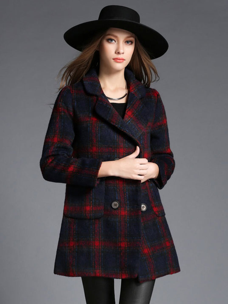 Grid Lapel Neck Double Breasted Trench Coat