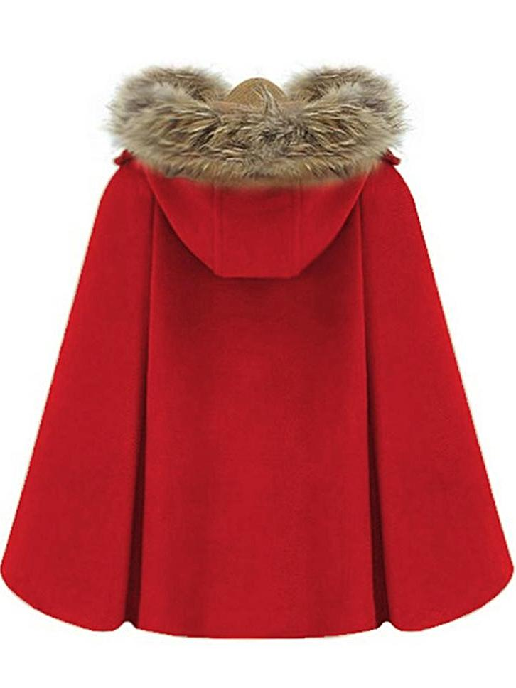 Retro Cloak Wool Tie Hat Cape Woolen Coat